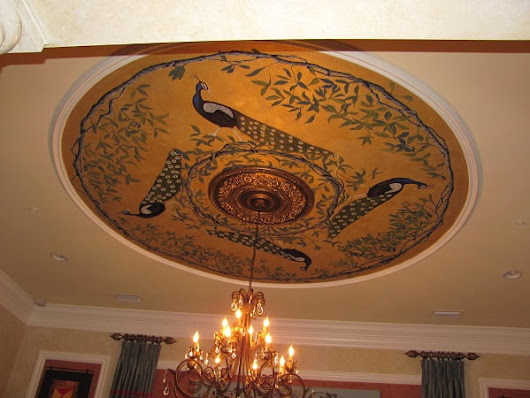 Peacock Art Ceiling Mural