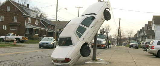 "ABC News on Twitter: ""Ohio woman's distracted driving lands her car up a utility pole:  """