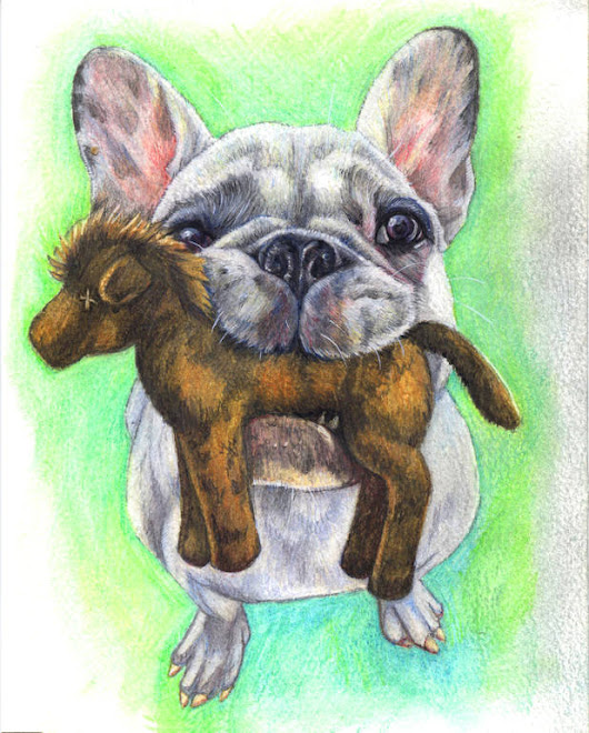 "Saatchi Art Artist: Sally Brennan; Pencil 2014 Drawing ""Frenchie and the Horse"""