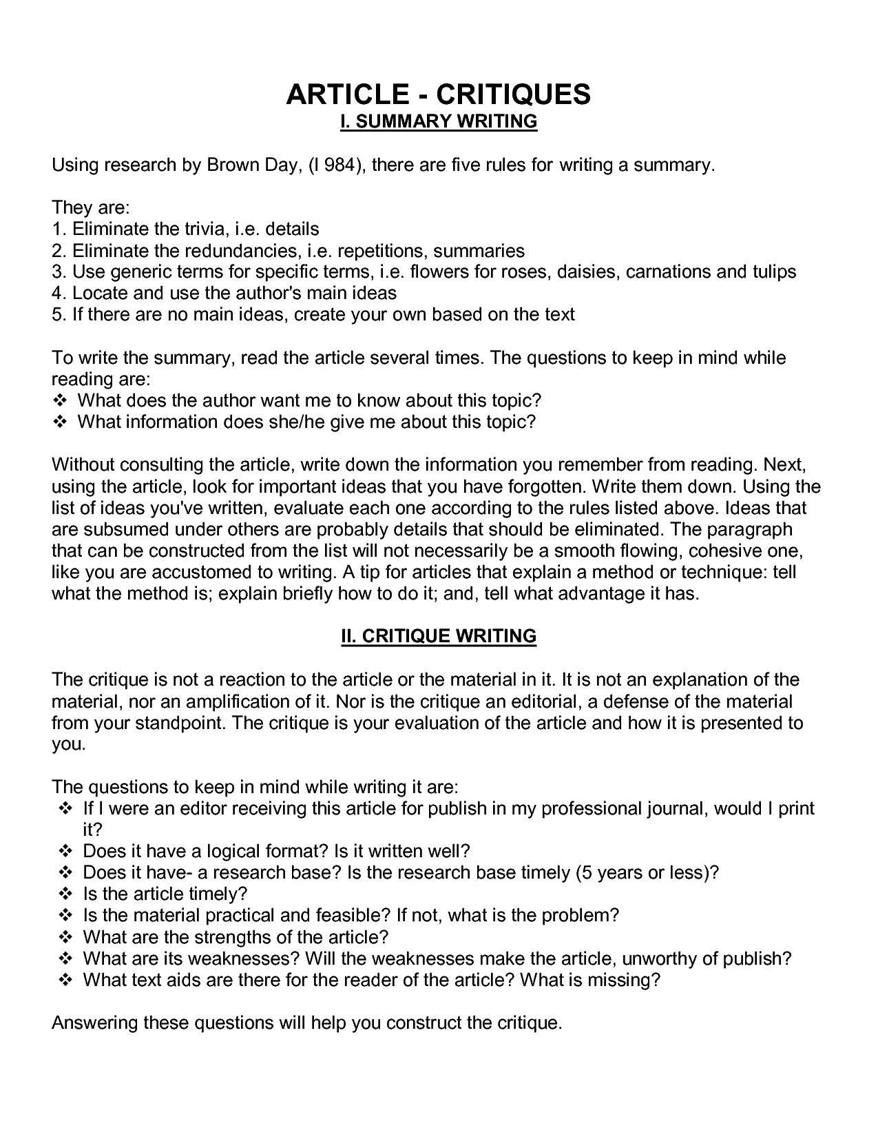 How to write a film critique essay