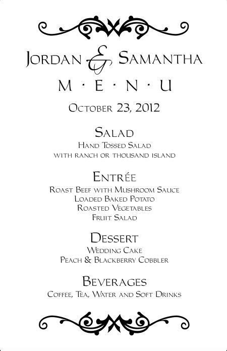 Wedding Menu Templates   Perfect and Easy Menus for Your