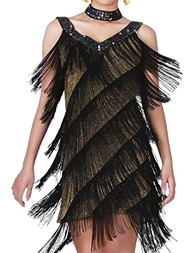 KAYAMIYA Women's Art Deco 1920s Gatsby Sequins Tassel Deep V Flapper Costume Dress S/M Gold Black