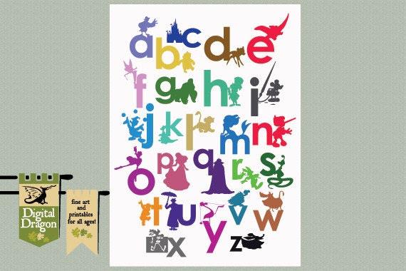 Disney Alphabet Nursery poster printable by DigDragon on Etsy