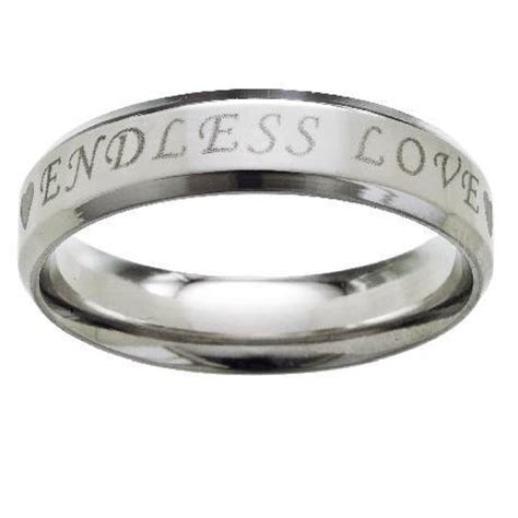 stainless steel wedding ring engraved