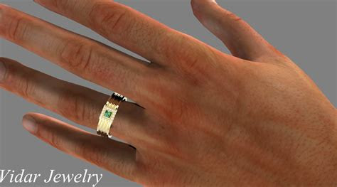 mens princess cut emerald wedding band vidar jewelry