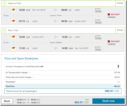 TAP Portugal $482 Newark EWR to London LGW, Paris $499, Venice $555 Oct-Dec - Loyalty Traveler