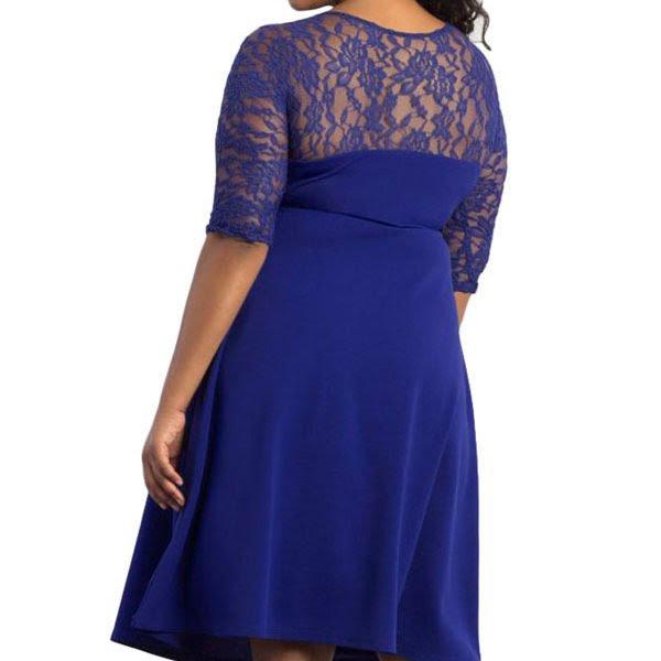 cheap blue trendy lace plus size cocktail dresses  online