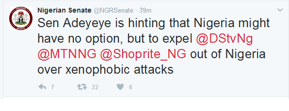Nigerian Senate May Expel DSTV, MTN, Shoprite Over Xenophobic Attacks