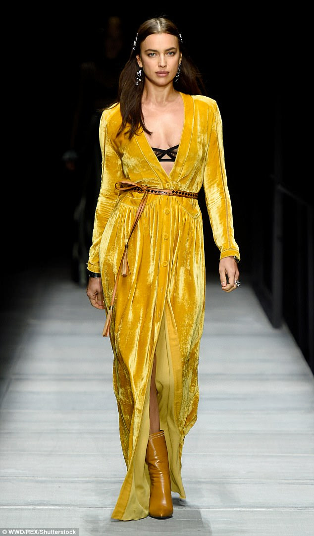 Hello yellow: Irina Shayk, 32, proved worthy of the title as she commanded attention at the Bottega Veneta fashion show in New York on Friday