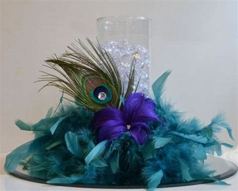 10 Peacock Feather Wedding Reception Centerpieces, Peacock