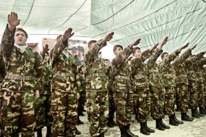 Hizbollah fighters: According to Gilbert Achcar the Nazi salutes are purely down to Israel's behaviour.