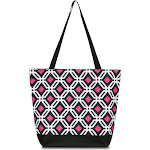 Zodaca Large All Purpose Lightweight Handbag Shopping Travel Tote Carry Shoulder Zipper Bag - Black Graphic