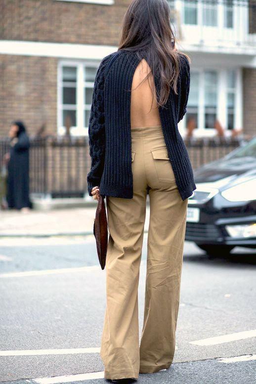 Street Style Open Back Sweater Split Back Style High Waisted Khaki Pants Fall Outfit Idea Inspiration Le Fashion Blog