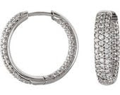 Cubic Zirconia Hinged Hoop Earrings Silver Pave Set - JPoliseno
