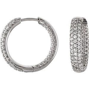 Cubic Zirconia Hinged Hoop Earrings Silver Pave Set - JPoliseno