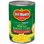 Del Monte Canned Golden Sweet Whole Kernel Corn No Salt Added, 15.25 Ounce (Pack of 24)