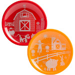 Brinware Barn Yard Tempered Glass and Silicone Plate Set