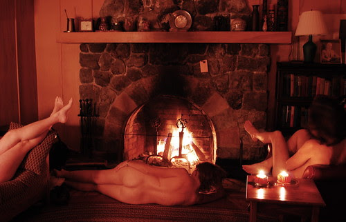 Naked in the firelight
