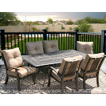 Garden Patio Furniture 7pc Dining Set for 6 Person Rectangle Table