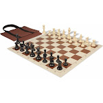 Standard Club Easy-Carry Plastic Chess Set Black & Ivory Pieces with Brown Roll-up Chess Board & Bag