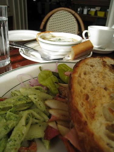 Ham and Brie sandwich, Potato Leek soup at Willow Wood Market Cafe, Graton