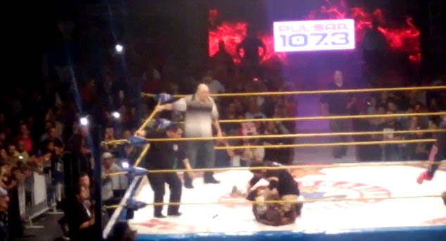 Crowd favorite: Fans cheered as El Hijo Del Perro Aguayo took his opponent to the ground