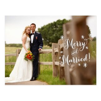 Merry and Married Holiday Announcement Postcard