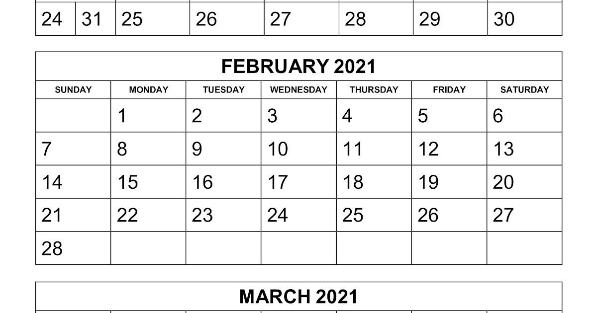 Printable 3 Month Calendar 2021 | Calendar 2021