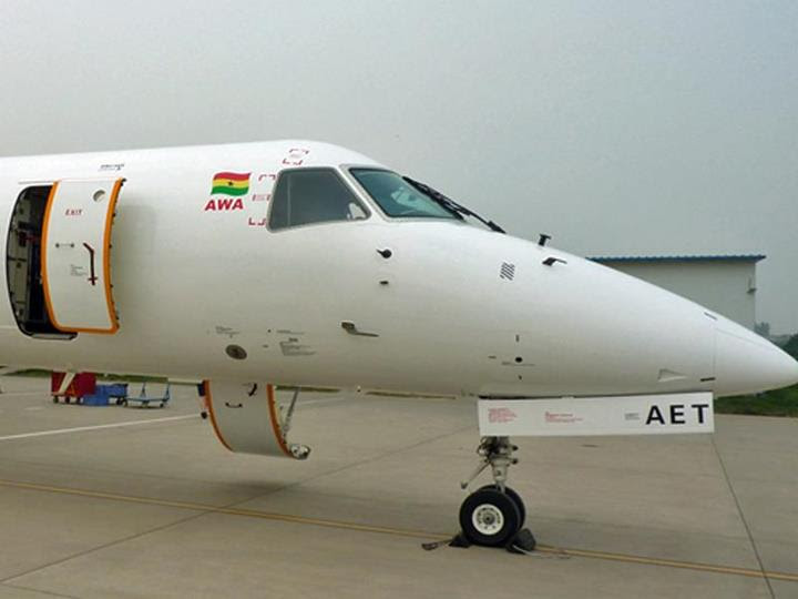 Ghana's Africa World Airlines' Embraer ERJ145 9G-AET