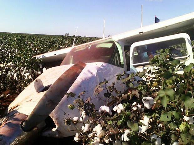 Avião de pequeno porte caiu em lavoura de algodão em Rondonópolis. (Foto: PM/Divulgação)