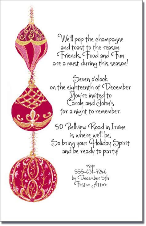 Red & Gold Christmas Tree Ornament Invitation, Holiday