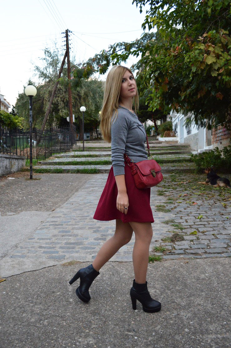 burgundy dress grey sweater7