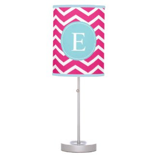 Pink Blue Chevron Monogram Lamp