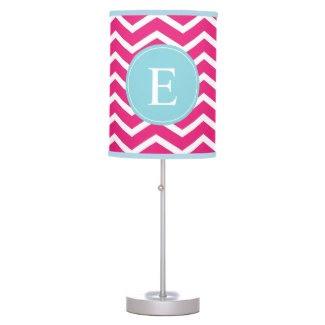 Pink Blue Chevron Monogram Lamp
