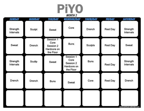piyo workout month  exercise px workout schedule