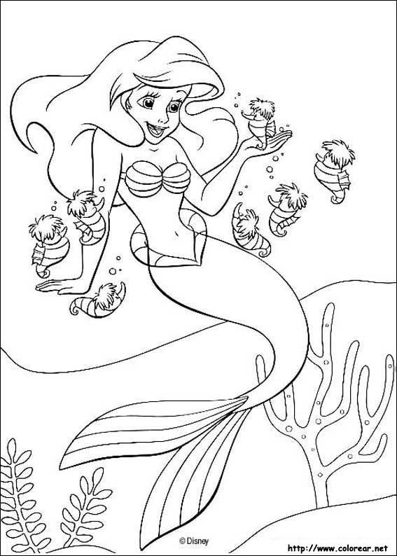 Dibujos De La Sirenita Para Colorear En Colorearnet