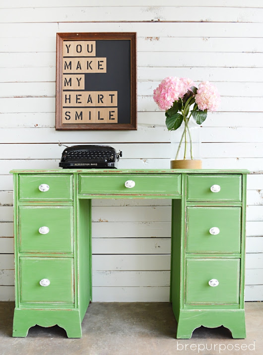Tavern Green Shabby Chic Desk - brepurposed