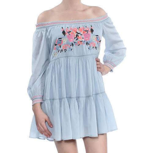 Free People Sunbeams Mini Dress Blue S