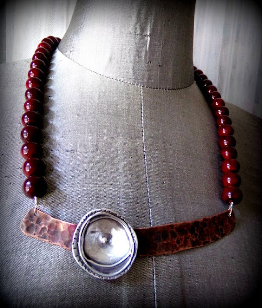 Mixed Metals Necklace with Deep Red Beads Copper Silver
