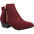 Nature Breeze Women's Round Toe Tassel Low Heel Ankle Boot (Burgundy, 9 B(M) Us)