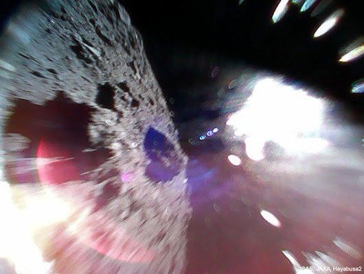 APOD: 2018 September 24 - Rover 1A Hops on Asteroid Ryugu