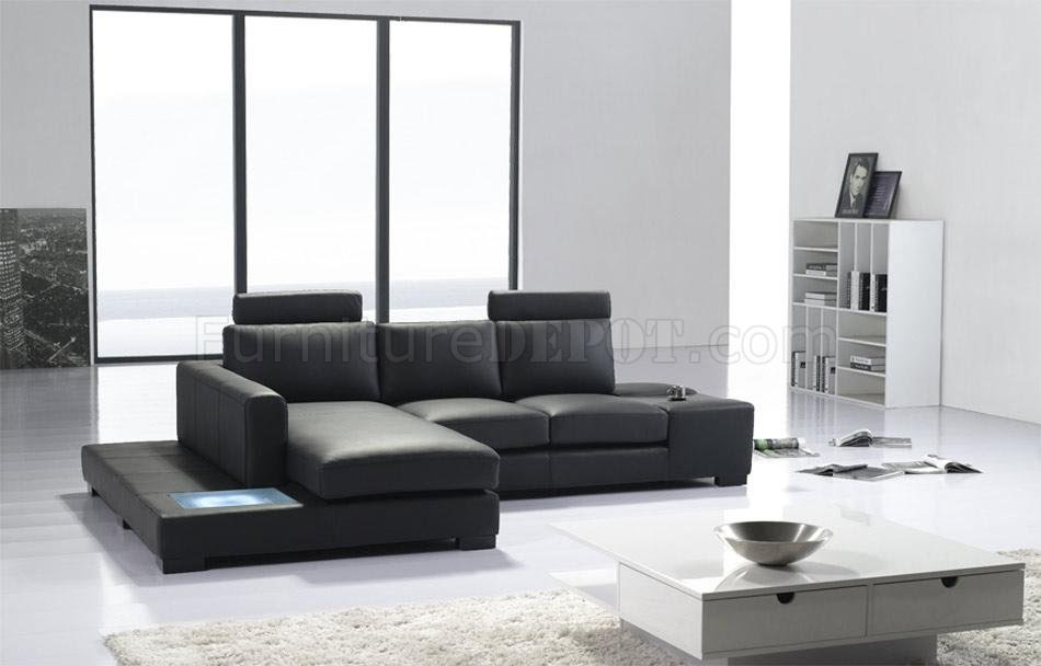 Black Leather Modern Elegant Sectional Sofa w/