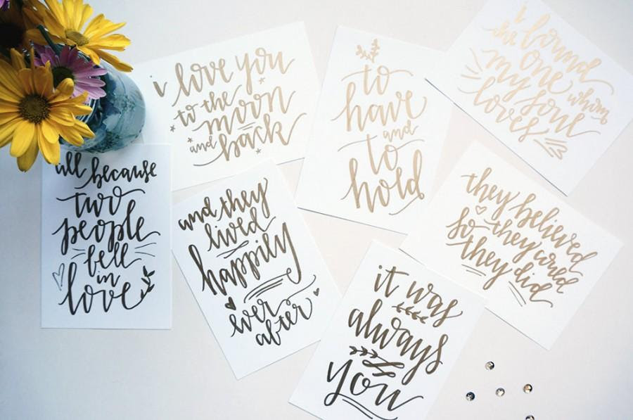 Custom Gold Handwritten Wedding Table Signs With Love Quotes