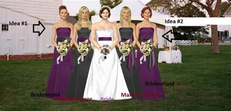 (wedding colors black, silver and purple) Bride in white