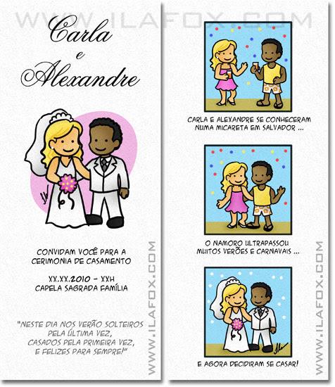tirinha em quadrinhos, convite em quadrinhos, convite casamento original, Salvador - Bahia, by ila fox