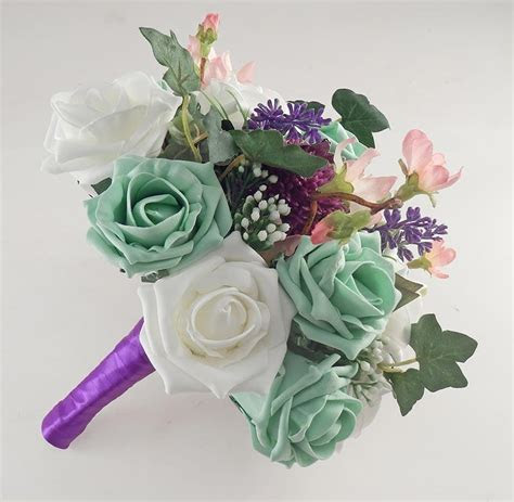 Beth Mint Green Rose, Purple Allium Butterfly Charm