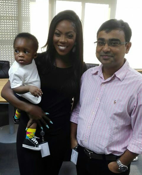 Tiwa Savage And Her Son Visit MTN Office