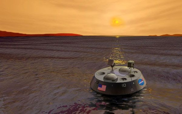 An artist's concept of the Titan Mare Explorer floating in a lake on Saturn's moon Titan.