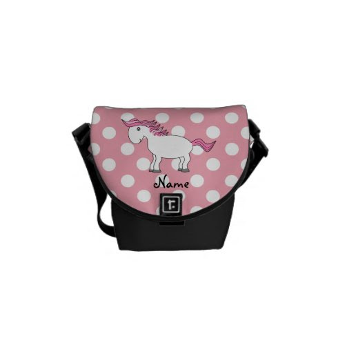 Personalized name horse messenger bags