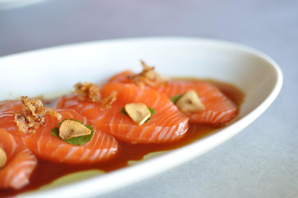 salmon sashimi with garlic citrus soy